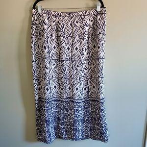 Ann Harvey Navy Print Long Skirt Size 14